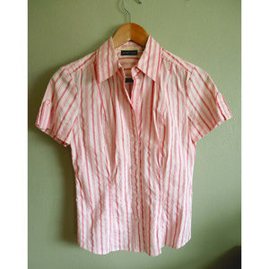 Pink and silver stripe button down collared shirt
